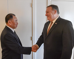 Secretary Pompeo Greets DPRK Vice-Chairman Kim Yong Chol Before a Meeting in New York City (U.S. Department of State) Tags: kimyongchol mikepompeo dprk