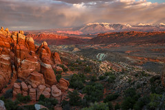 Fiery Furnace Sunset 2018 (TWK2011) Tags: fiery furnace lasal mountains mountain landscape sky clouds canyon cloudy spires rock formation orange magenta moab utah sunset moody