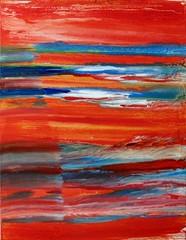 stormy sea in front of red sky (Peter Wachtmeister) Tags: artinformel art mysticart modernart artbrut popart abstract abstrakt acrylicpaint surrealismus surrealism hanspeterwachtmeister
