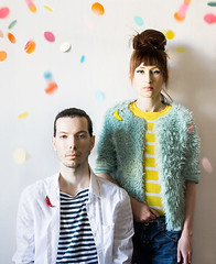 he and she are a team (lera_abrakadabra) Tags: people youngman manportrait jewelry simple manandwoman portraints pair couple serious festive confetti brightpeople fashionpeople mint yellow white sheandhe team