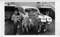 Three Fishermen (ricko) Tags: fishermen johnny cousin uncleed me fish redsnapper boat panama film scan old 1960 bw fromfamilyarchives evinrudeoutboardmotors
