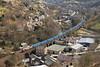 Eastbound Bins At Gauxholme. (Neil Harvey 156) Tags: railway 66142 gauxolmeviaduct gauxholme todmorden caldervalley wastetrain binliner knowsleybins 6e26 class66 ews dbcargo shed