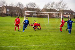 Denaby United (nonleaguepap) Tags: denaby united main doncaster yorkshire non league football red black blue boots players sheffield nets green grass pitch white lines shirts shorts socks county derby saturday april 2018