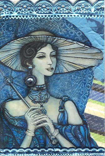 Blue Lady with Hat atc
