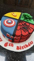 Superhero Cake (Victorious_Sponge) Tags: superhero boys girls birthday cake ironman spiderman captain america incredible hulk fist