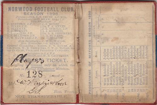 Norwood Football Club, season ticket 1898