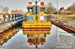 Ship,Groningen Stad ,the Netherlands,Europe (Aheroy) Tags: schip ship boat boot groningen aheroy aheroyal water canal kanaal thomasvanseeratt geel yellow binnenvaart kerstvloed reflection weerspiegeling