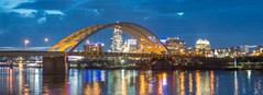 "View of Cincinnati And The Daniel Carter Beard Bridge (aka the ""Big Mac Bridge"") From Newport On The Levee-00840 (gsegelken) Tags: urbanlandscape nightscape cityscape bsa boyscoutsofamerica danielcarterbeardbridge cincinnati ohio ohioriver night interstate471 panorama sony"