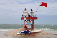Red Flag Day (MsDee) Tags: northbeach fortdesoto florida gulfofmexico redflag red lifeguard catchycolors
