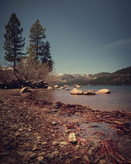 A view of a mountain by Donner Lake with small rocks on the foreground. (pedferr) Tags: sunny sand color nature water moody lake 4x5 red blurry morning summer outdoors dramatic stone usa landscape shapes vertical woods sky unitedstatesofamerica rocks bluesky longexposure travel colorful warm texture river forest summit snow trails brown adventure mountain california detail