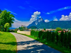 Kufstein with fortress and Pendling mountain in Tyrol, Austria (UweBKK (α 77 on )) Tags: österreich kufstein fortress pendling mountain river inn valley bushes trees green grass sky blue clouds tyrol tirol austria europe europa iphone