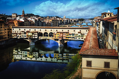 Florence-Arno-Ponte Vecchio (mcook1517) Tags: pontevecchio florence firenze italia italy travel river water sky clouds bridge color reflection europe