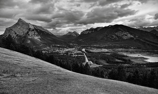 Banff View Point or One Heck of a View Across Banff with Views to Mount Rundle, Sulphur Mountain, and the Canadian Rockies (Black & White)
