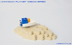 03_Unknown_Planet_Discovered (LegoMathijs) Tags: lego moc legomathijs space scifi microscale ship white blue orange tan planet unknown discovered discovering research