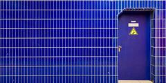 Blue door on blue background (Traveller_40) Tags: blau door fliesen gate monaco münchen schräg subwary tamron tamron1530 treppe tür ubahn walkwihfriends weitwinklel unterground wideangle stair staircase blue blueconner warning attention keepout closeddoor guessed guessedbyrolandito