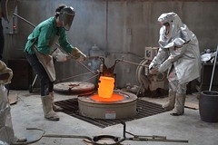 Bronze casting 1 (orientalizing) Tags: artstudio bronze casting crucible forge nebraska spacesuit unl usa
