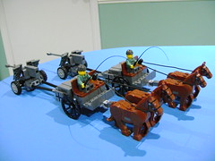 Custom Lego WW2 German horse buggy and Pak40 canon duo (TekBrick) Tags: custom lego ww2 german horse buggy canon pak40 crate shell whip horses soldier moc brick