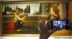 Firenze _ Leonardo da Vinci (piero.mammino) Tags: firenze florence leonardo vinci arte art uffizi quadro picture photo fotografia smartphone galleria annunciazione maria angelo angel mary mano hand