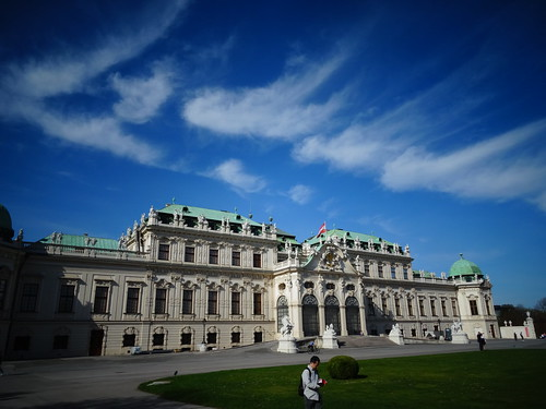 Wien, 3. Bezirk (very historic palace buildings in the suburbs not far away from downtown Vienna), Palacio de Belvedere, Belvedere Palace, Palazzo di Belvedere, le Palais de Belvedere (the upper part), Prinz-Eugen-Straße/Rennweg