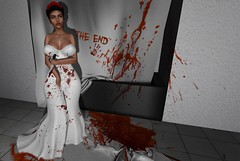 Happily Never After. (Meincks Resident) Tags: secondlife second life wedding black widow murder redrum psycho crazy kill shower dress bride bridal gown blood bloody end endgame knife roses crime cigarette