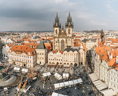 Prague Old Town (borishots) Tags: 28mm 28mmf2 sonyalpha7 sonyalphailce7 sonyfe28mmf2 borishots sony sonya7 wideangle prague´s old town prague´soldtown oldtown buildings architecture oldarchitecture analog retro vintage panorama sun sunlight sunset sunshine sunny church