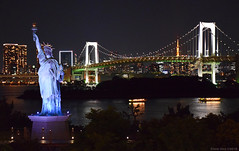 Replica of the Statue of Liberty in Odaiba. Rainbow Bridge and Tokyo skyline, a beautiful backdrop. (Eddie Diaz Photography Collection) Tags: tokyo tokyobay odaiba japan statue ladyliberty