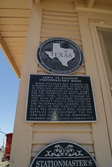 Santa Fe Railroad Stationmaster's House (ednurseathkh) Tags: texas texashistoricalmarker hansfordcounty santaferailroadstationmastershouse spearman medallionplate texashistoriclandmark santaferailroad cottage