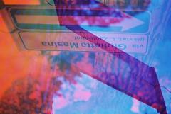 Via Giulietta Masina (Multiple Exposure) (goodfella2459) Tags: nikon f4 af nikkor 50mm f14d lens cinestill 50 35mm c41 film analog colour via giulietta masina sign experimental abstract rimini italy hoya pop color filters federico fellini manilovefilm