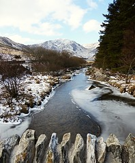 Ogwen Valley 2 (lesleydugmore) Tags: river stream mountains ice water trees sky cloud snowdonia snowdonianationalpark wales nortwales ogwenvalley