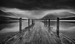 Misty Lake Rotoiti At Dawn (Rolf Siggaard) Tags: ~photography ~typeofphotography landscapephotography 12mm blackwhite captureone environmental fujixt2 fujifilm landscape mirrorless monochrome moody morning newzealand outdoors shore sunrise water lake jetty mountains ngc greatphotographers