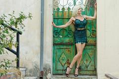 Green (DZ-fotografia (8.3 Million views, Thx!)) Tags: green dress gate door sexy long legs blonde hair woman lady athens