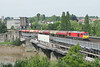 The supports for the masts are now installed. This view will be gone forever very shortly. 60015 6B13 0500 Robeston - Westerleigh crossing the usk at Newport 21.05.2018 (The Cwmbran Creature.) Tags: british rail class train trains railways railway 60 tug fuel tank tanks tankers dbc dbs