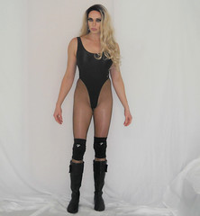Me and my wrestling getup (queen.catch) Tags: catchqueenyoutube youtuber tranny video fishnets blackbathingsuit thong crossdresser gender bending wrestling outfit boots kneepads wig makeup sissy femboy legs shiny lycra spandex ladyboy lipstick