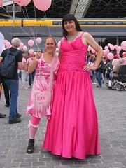 Pink sisters (Paula Satijn) Tags: hot pink girl lady dress gown ballgown skirt fuchsia bight gurl tgirl satin silk silky shiny outside girly feminine elegant style happy joy smile happiness fun pinkmonday tilburg crowd public