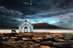 Another world (Jean-Michel Priaux) Tags: paysage nature landscape anotherworld dream dreaming fog mist lonesome alone photoshop paint painting mattepainting paintingmatte house home volcano terrific scary littlehome unreal surreal