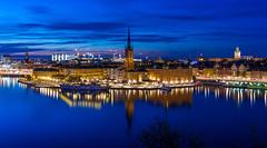 A Blue City (xirn32) Tags: stockholm sweden bluehour gamlastan oldtown riddarholmenchurch riddarholmen citylights