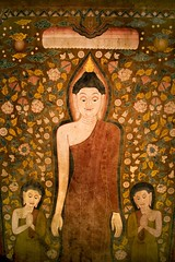Stock Images (perfectionistreviews) Tags: indoors color vertical nobody wallhanging tapestry closeup buddhism cloth cotton buddha scroll templescroll buddhist religious icon idol deity detail disciples disciple monks monk thai textile religionandmyth