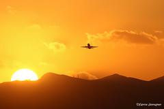 Sunset (Fabrice H. - Photography) Tags: heraklion iraklion vacation summer sunset sun plane airplane clouds cloud air beach sunny zonsondergang aircraft takeoff airport