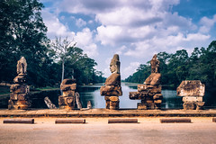 Over the Moat (jameslf) Tags: angkor angkorthom bridge cambodia siemreap southgate statues temples