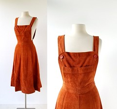 1970s suede jumper dress, made in Argentina (Small Earth Vintage) Tags: smallearthvintage vintagefashion vintageclothing dress 1970s 70s suede brown jumperdress madeinargentina