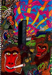 burning with baboons in a babylon (SociétéRoyale) Tags: baboons2 art monkey space odyssey 2001 acid trip sky weird spliff smoke doodle drawing sun ape