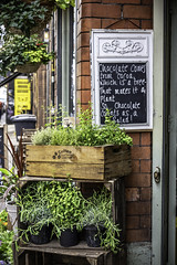 Good news (tootdood) Tags: canon6dmkii manchester tib street good news flower shop chalkboard plants green leaves red bricks wooden crate