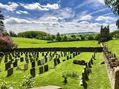 Chipping Campden (heathernewman) Tags: architecture sheep animal grass landscape sky churchyard church cotswolds chipping campden field building sunshine green blue graves england gloucestershire aonb cotswold cotswoldaonb uk britain clouds trees walls drystonewall