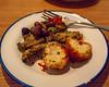 Arancini balls, crumbed mushrooms, and olives (garydlum) Tags: olives aranciniballs brisbane casacibo mushrooms chermside queensland australia au