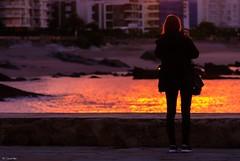 Al anochecer (Carpetovetón) Tags: anochecer atardecer agua chica personas reflejo colores contraluz costa mar marcantábrico marina playa ciudad nikond200 sigma120400 castrourdiales cantabria españa