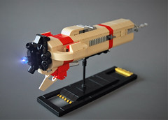 LCS - Dagger -rear view (adde51) Tags: adde51 lego moc spaceship microscale illegal connections illegalconnections space scifi tan red