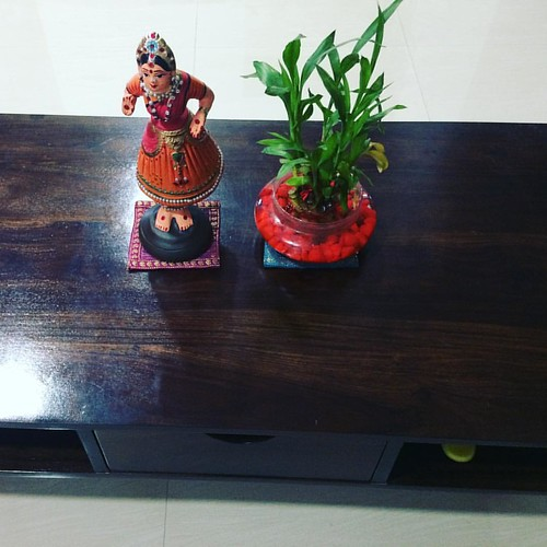 With #showcases going up on the #accentwall, the many different type of #art pieces gifted by #friends and #family come out. And the coffee table gets a new #thanjavur #bommai as the  #giraffe , #raindeer and #elephant and #piggy are taken to  the wall. .