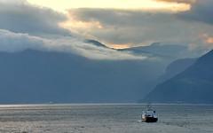 Norway: Kinsarvik fjord and ferry (Henk Binnendijk) Tags: kinsarvik hardanger hordaland norway ferry ferryboat ferrydock bryggen clouds fog fjord kai ship boat noorwegen norge