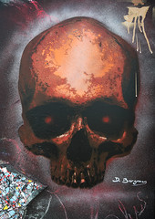 Skull (HBA_JIJO) Tags: streetart urban graffiti pochoir stencil paris art france hbajijo wall mur painting skull peinture nosbé spray urbain docteurbergman