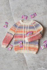 tigrillo (_vasilka_) Tags: handmade knit knitting test sweater pullover baby striped white opal wool winter